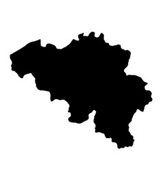 black silhouette country borders map of belgium vector image