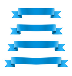 blue realistic silk ribbon banners set vector image