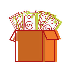 box open with bills dollar vector image