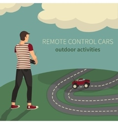 Boy managing cars on the radio control vector