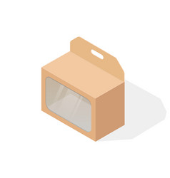 brown paper cardboard box with transparent window vector image