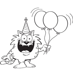Cartoon Cat Holding Balloons vector image