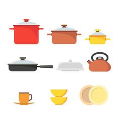 Cartoon cookware set row vector