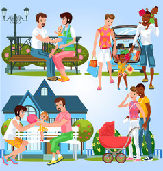 cartoon set of happy families with little babies vector image