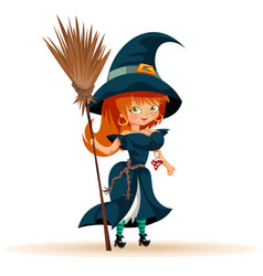 Cartoon woman in witch costume flat poster vector