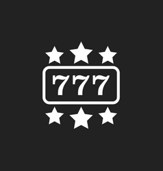 Casino slot machine flat icon 777 jackpot vector