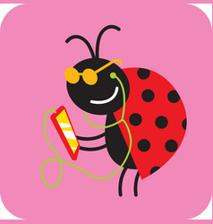 cheerful beetle listens to music on a smartphone vector image