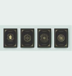 christmas greeting cards vintage design ornate vector image