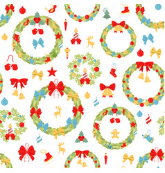 christmas wreath seamless pattern decoration vector image
