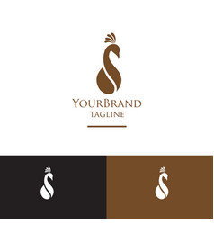 Coffee with peacock logo template vector