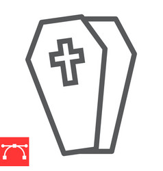 Coffin line icon halloween and scary casket sign vector