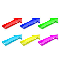 colored arrows 3d shiny icons vector image