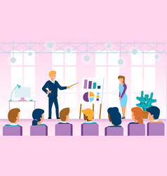 company leader explaining company new strategy vector image