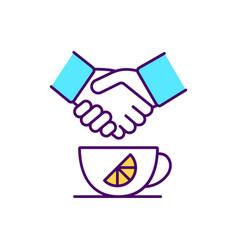 Custom mug with printed brand logo rgb color icon vector