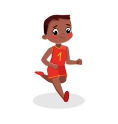 cute boy running kid in sports uniform doing vector image