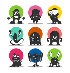 Cute cartoon avatars and icons black monsters set vector