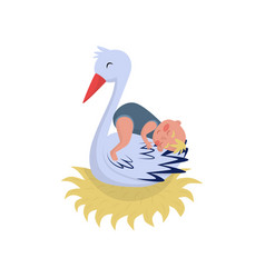 cute stork sleeping with little baby in nest vector image