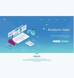 data analysis server isometric vector image