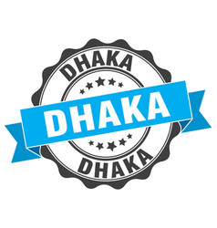 Dhaka round ribbon seal vector