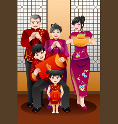 Family celebrating chinese new year vector