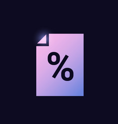 file with percentage mark tax document sign vector image