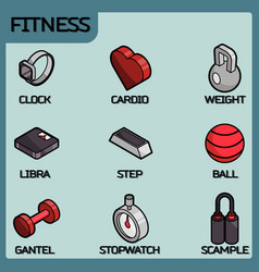 fitness color outline isometric icons vector image