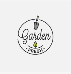 garden fresh logo round linear tool vector image