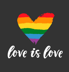 Gay lettering poster lgbt rights love is love vector
