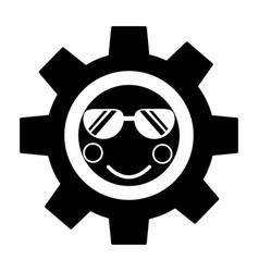 Gear with sunglasses kawaii icon image vector