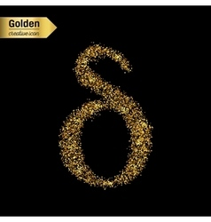 Gold glitter icon of alpha isolated on vector