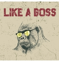 Gorilla in the yellow sunglasses vector image