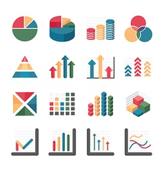Graph chart Business and financial Icons set vector
