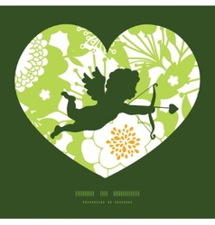 green and golden garden silhouettes vector image