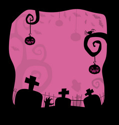 halloween background with cemetery and space for vector image