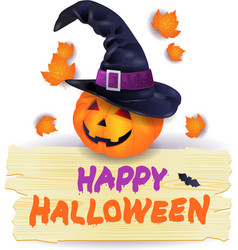 halloween pumpkin with hat and wooden sign vector image