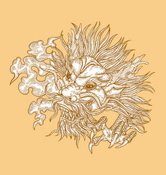 hand drawn asian dragon head on gold background vector image