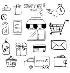 Hand drawn of shopping doodle art design vector