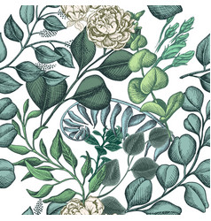 Hand drawn pattern with eucalyptus succulent vector