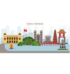 hanoi hoan kiem lake vietnam landmarks skyline vector image