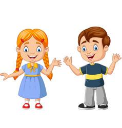 happy boy and girl cartoon vector image