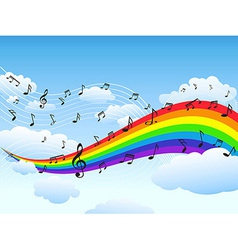 happy rainbow with music note background vector image