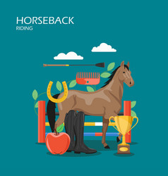 Horseback riding flat style design vector