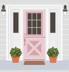 house door front with window steps lamps and vector image