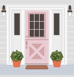 House door front with window steps lamps vector
