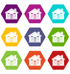 house icon set color hexahedron vector image