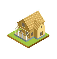 house roand walls framework isometric 3d icon vector image