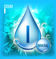 I iodum mineral blue drop icon vitamin vector