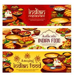 indian food menu authentic india restaurant dish vector image