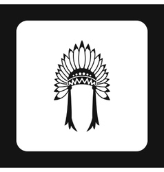 Indian headdress icon simple style vector image