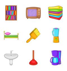 internal stuff icons set cartoon style vector image
